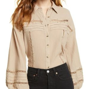 NWT FREE PEOPLE Summer Stars Button Down Blouse M